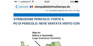 Roccaraso - Rivisondoli - Credo sia questo il motivo per cui la protezione civile Abruzzo abbia allegato il link al suo sito, il sito avviso valanghe ha messo la seconda icona su RR - ©iPhone di Marco