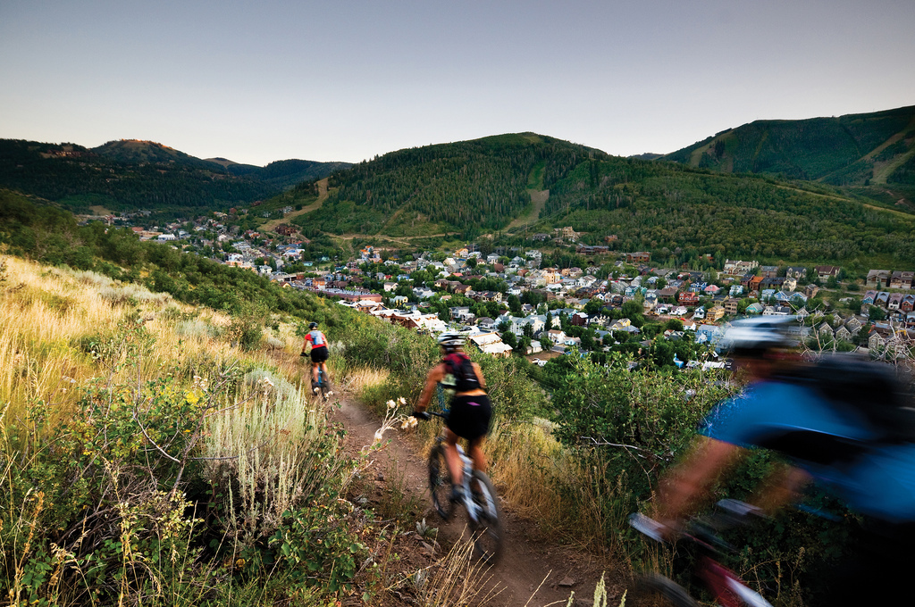 Alexandra Rocco, Andria Huskinson and Patton Murray mountain biking in Park City.