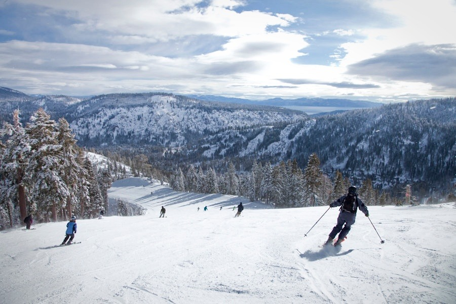 A short break in the weekend's storm gives skiers at Squaw Valley a stunning view of the lake. Photo by Sasha Coben