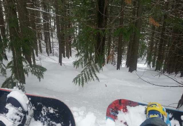 Fresh Pow started blizzarding half way through the day... Lower Bear Chutes is where it's hiding! :P