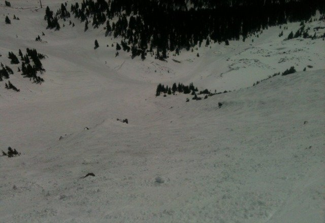 Looking down Durrance today. Tuff place to make some turns.