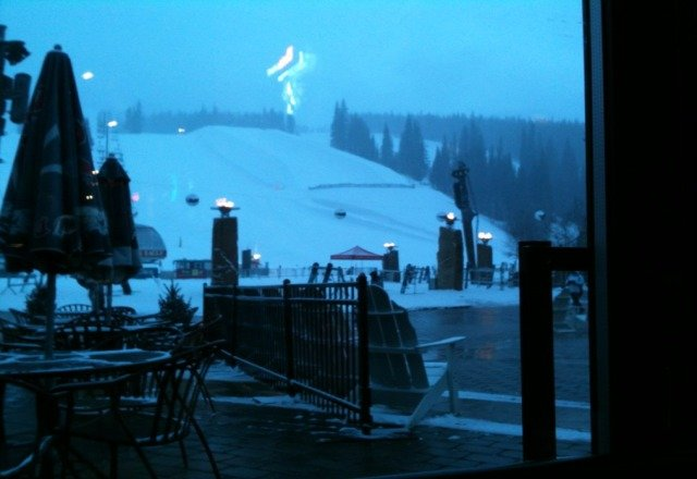 view from Endo's after a great day of ski. quite a bit of snow today.