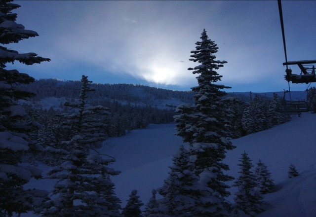 sunrise from yesterdays incredible bluebird powder day.