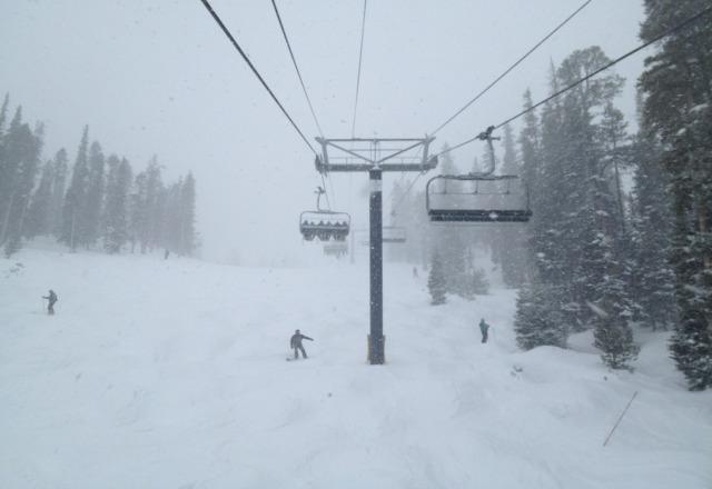snowing hard.  pushing 3-5 inches of fresh powder around upper mtn