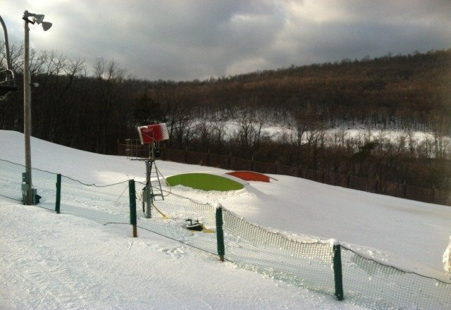 good conditions - small park was fun although the two jumps were at a weird angle?