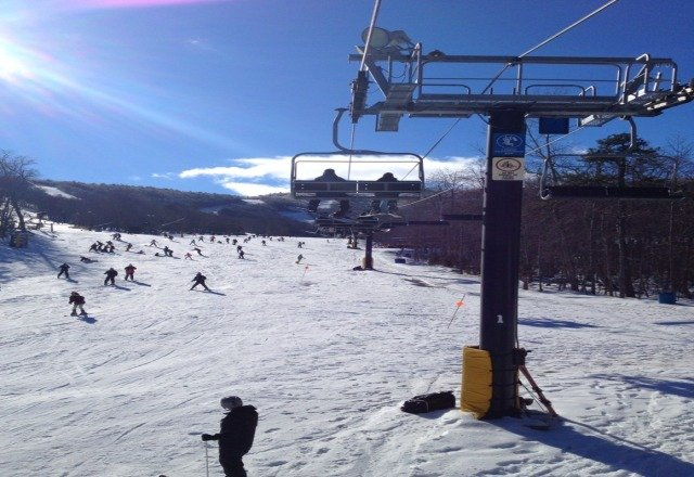 12/27. a little crowded with 2 lifts open. the weather was gorgeous though and it felt warm not blustery cold