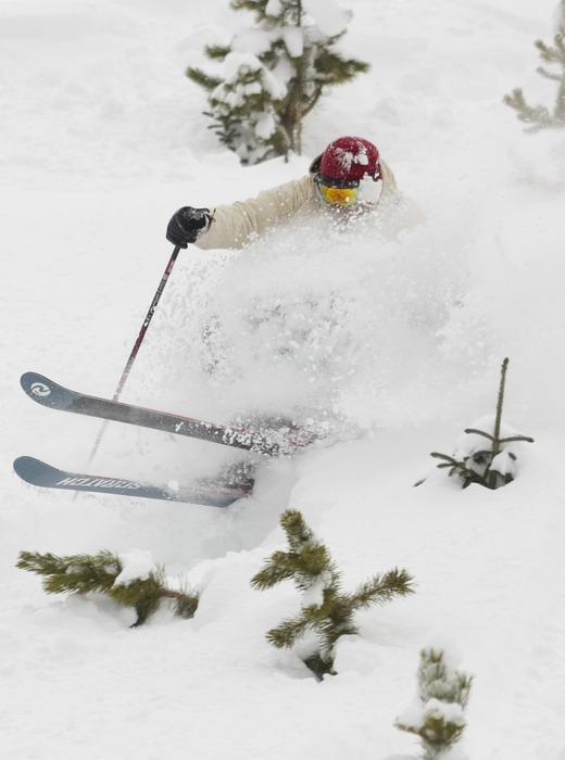 This skier gets a face full of powder in Keystone, Colorado