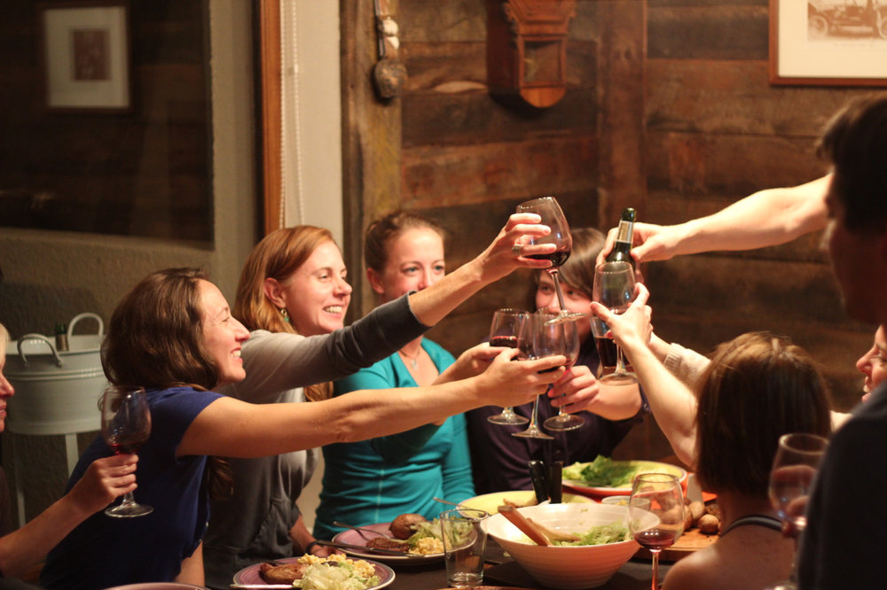 Ladies night! Nothing better after a hard day of skiing than a nice glass of Chilean Wine.  - ©Mike Reff PowderQuest