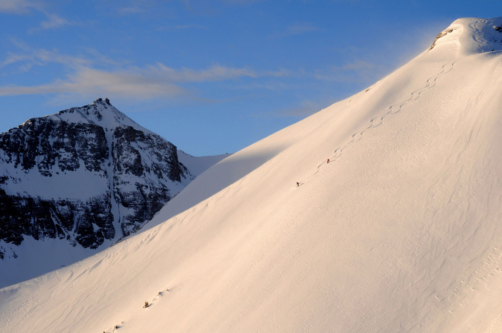 Two skiers take on the revelation bowl in Telluride, Colorado