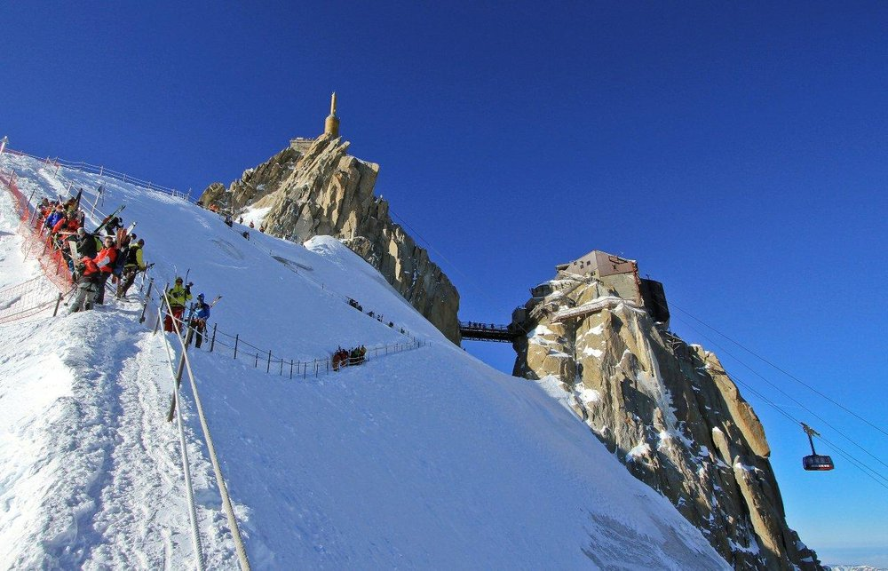 The Aiguille du Midi ski lift in Chamonix, France - ©Chamonix Tourist Office / David Ravanel