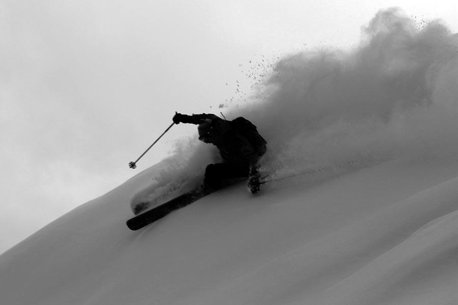 A skier enjoying the powder in Jackson Hole, Wyoming
