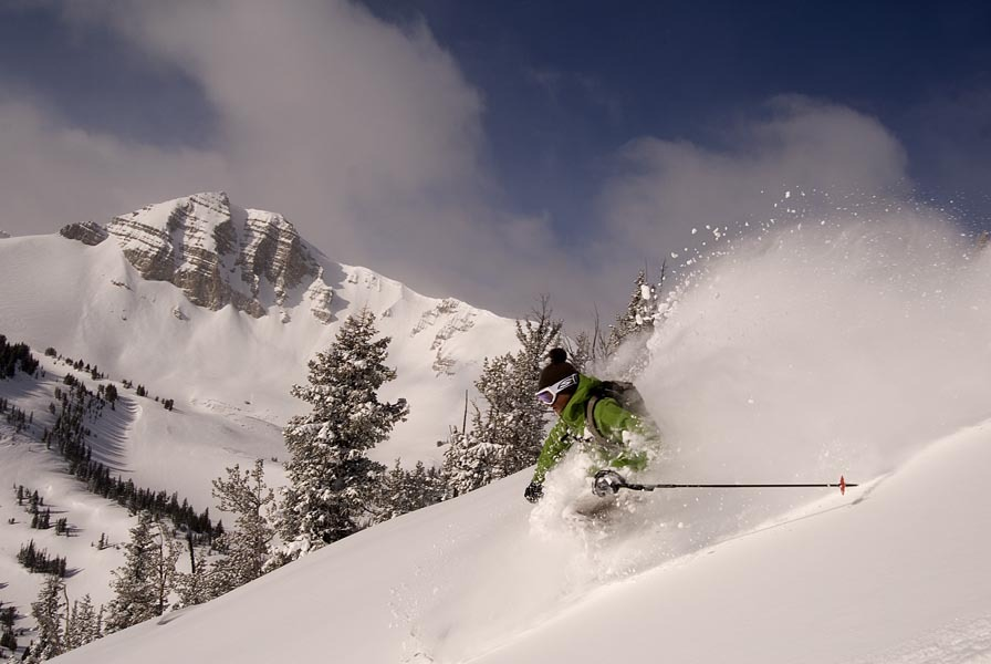 A skier finds powder in Jackson Hole Mountain Resort, Wyoming