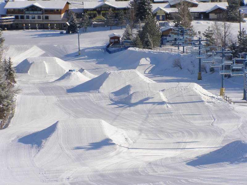 The terrain park at Mt. Holly Canyon Park, MI.