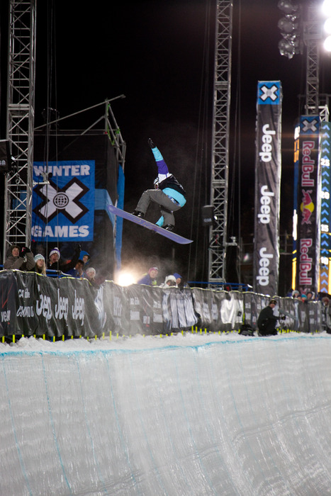 Kelly Clark during her victory lap in the Superpipe. Photo by Sasha Coben