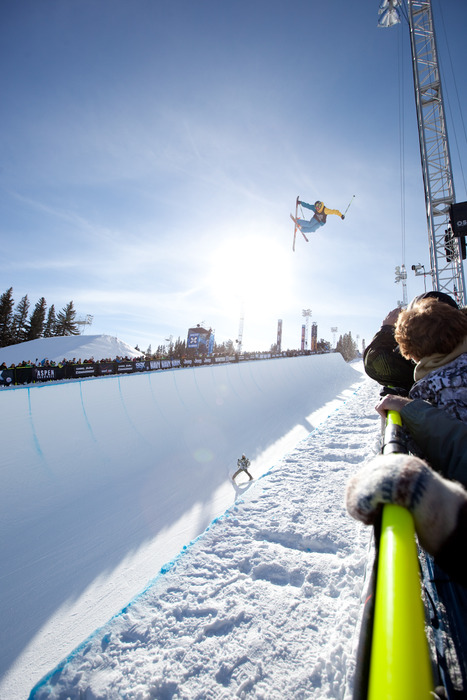David Wise took 1st place in the men's skiing Superpipe finals. Photo by Sasha Coben