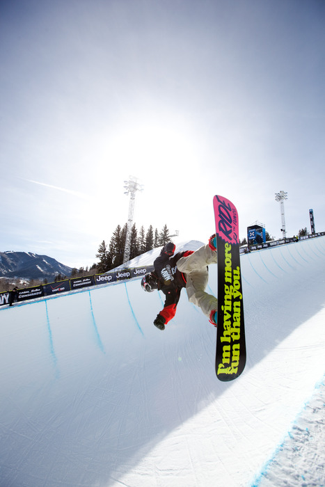 Louie Vito practicing in the Superpipe. Photo by Sasha Coben