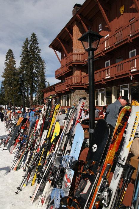 Skiers and snowboarders take a break from Sugar Bowl Ski Resort, California