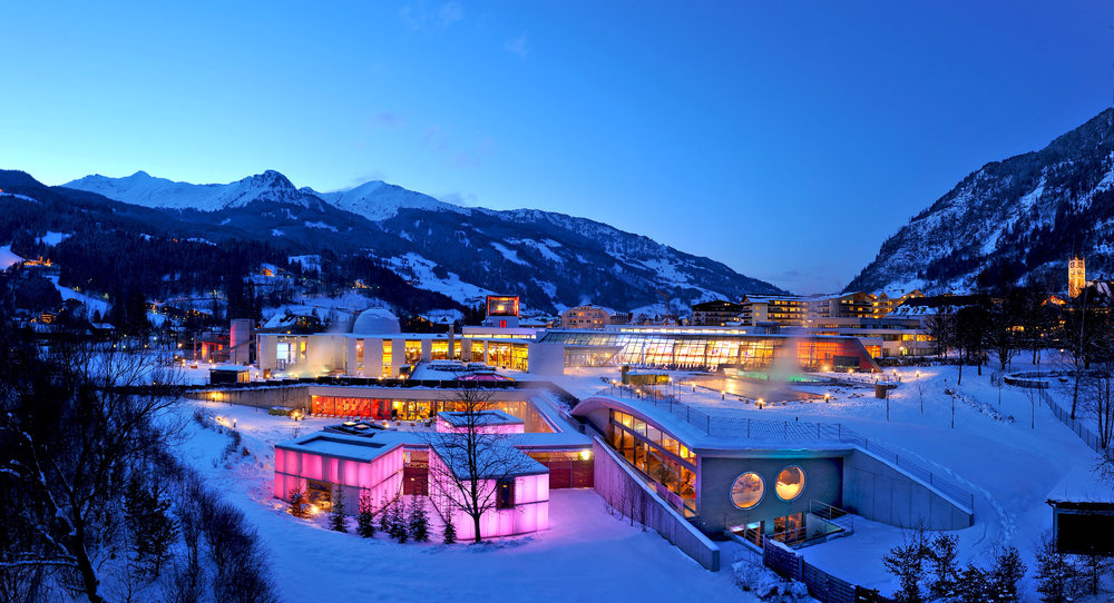 The Alpentherme spa in Bad Gastein, with a stunning view of the surrounding mountains