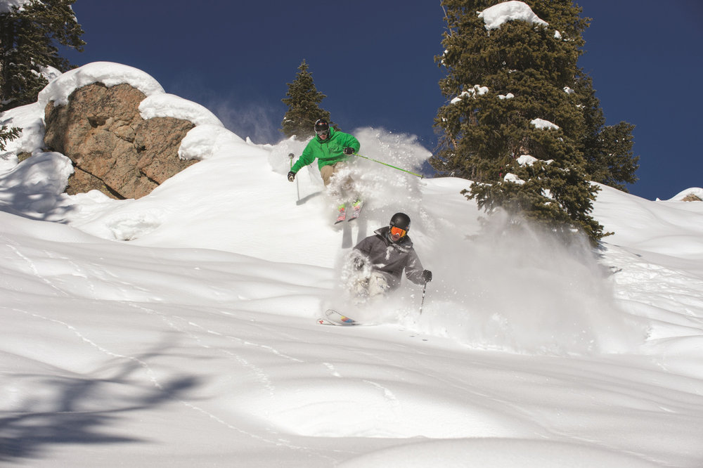 Freeride action on a powder day at Crested Butte Mountain Resort.