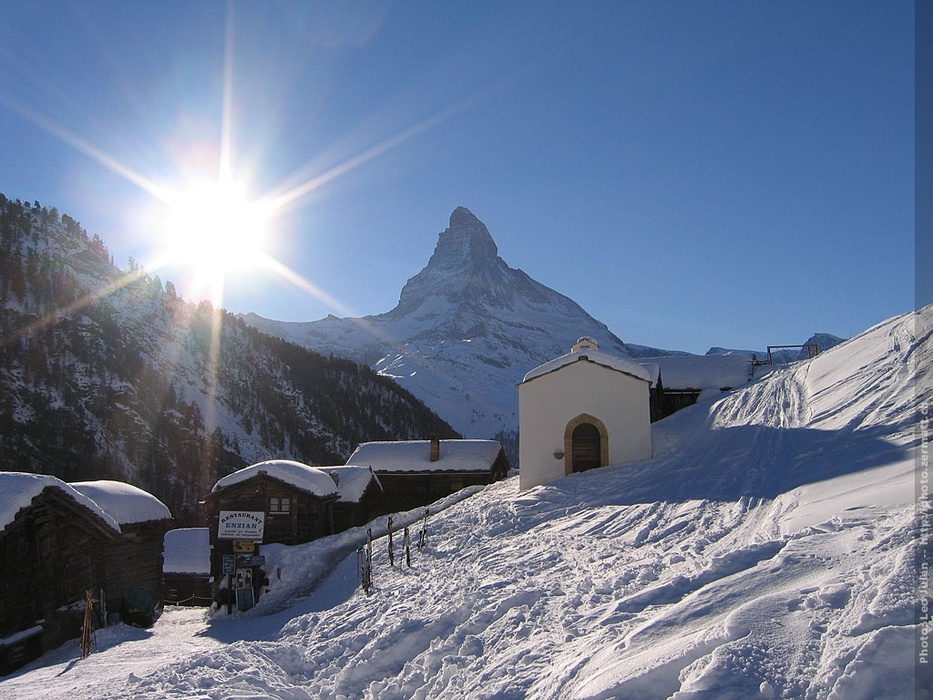 Zermatt village in front of the Matterhorn mountain