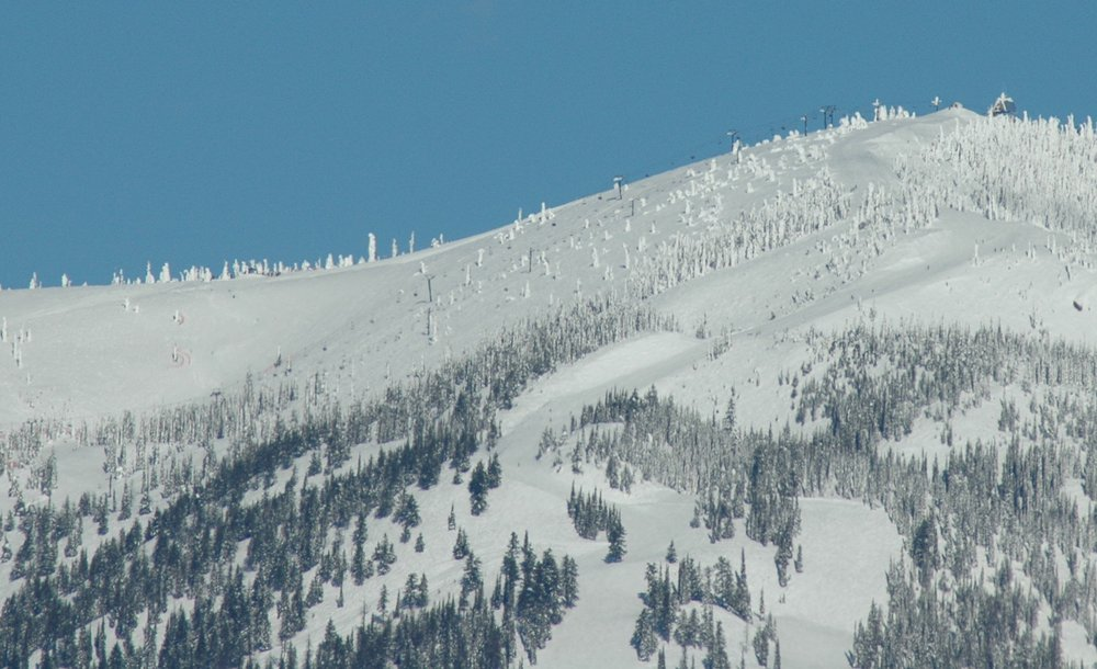 A snow-covered Whitefish Mtn Resort. Photo by Becky Lomax.