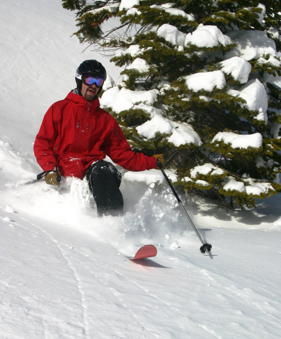 This skier enjoys new powder at Homewood MountainResort, California