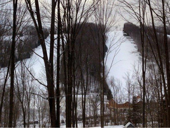 No new snow overnight, but slopes look good. Still making snow. 24 deg. F.