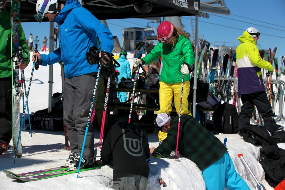 Testers get ready to test another pair of skis.