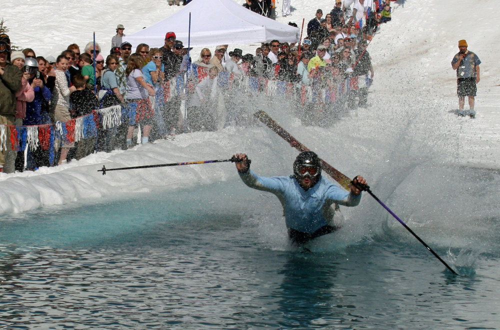 Pond skimming flop at Brundage.  - ©Brundage Mountain Resort