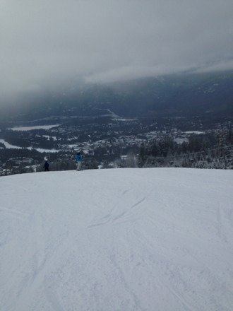 Icy in parts but overall pretty good skiing today . Visibility poor in mid sections of mtn