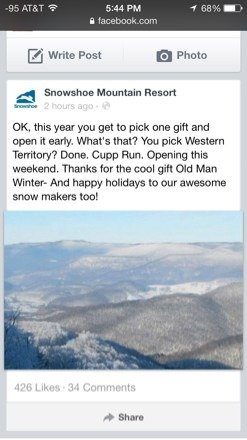 Their FB says that cupp run in western territory is opening this weekend.