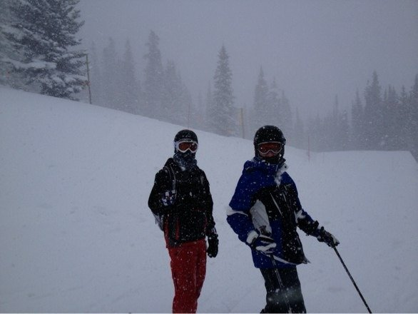 Epic powder day!  At least a foot of new snow.