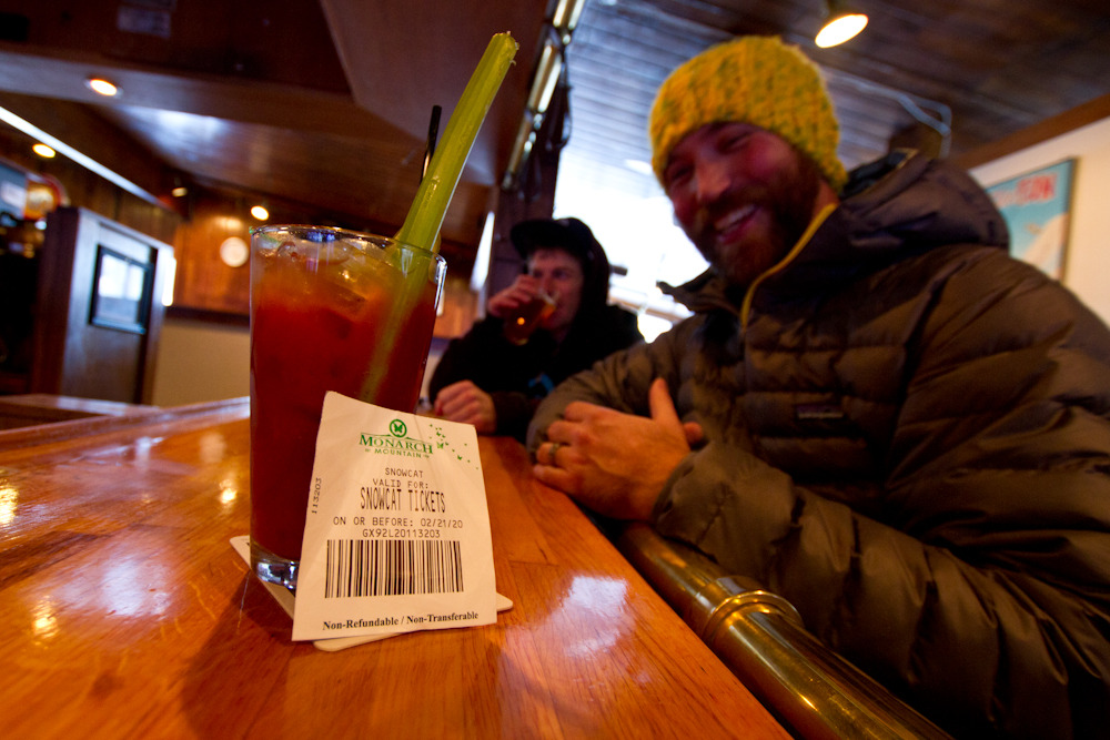 Yes it's true...every skier on Monarch Snowcat tours gets a free drink ticket..heres to Apres Ski! Photo by Liam Doran