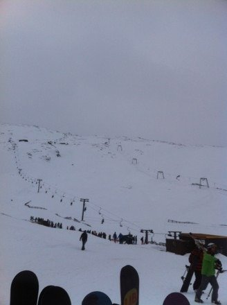 It is open, with lots of snow to access chair a bit heavy lower down. Still good though!!