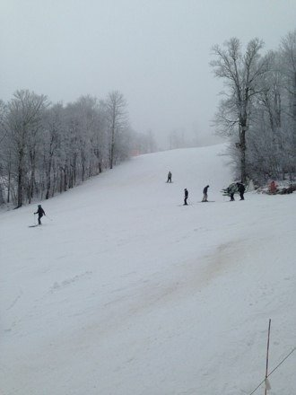 Not a ton of snow and only a few trails open.