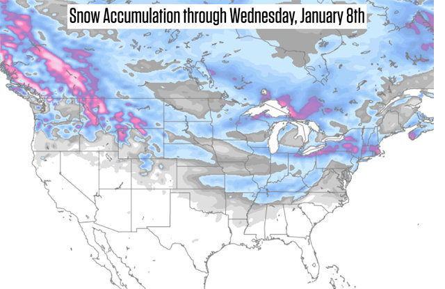 Parts of the northern Rockies and New England could see double-digit snow totals over the coming week.