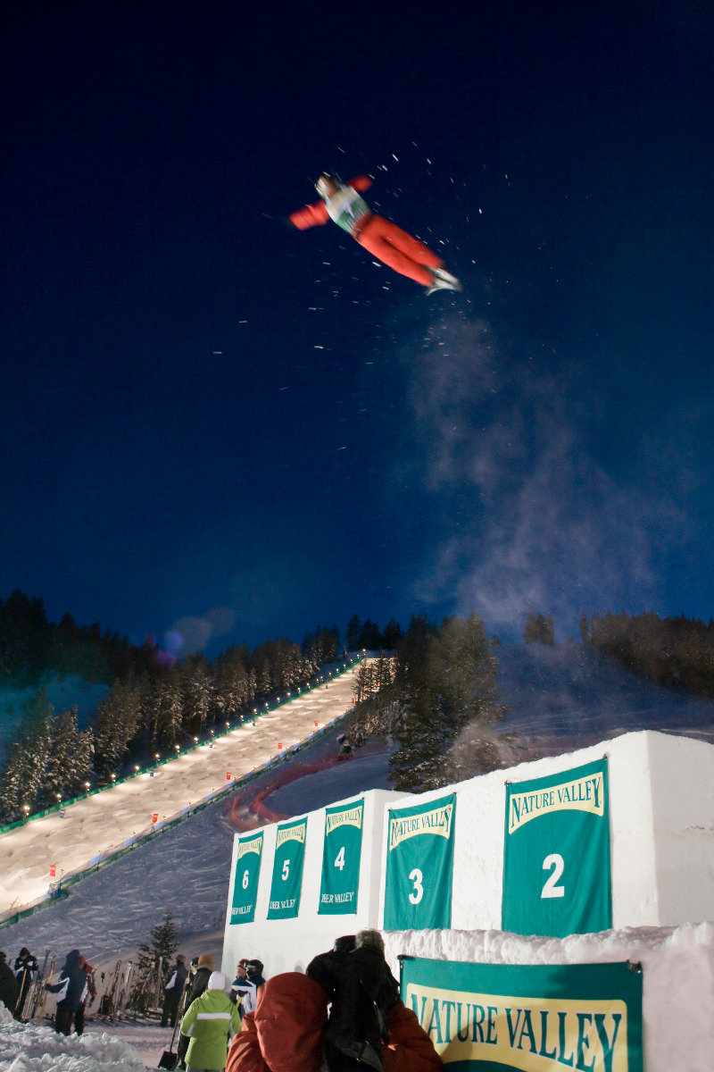 High flying aerialists soar to great heights during the FIS Freestyle World Cup at Deer Valley Resort.