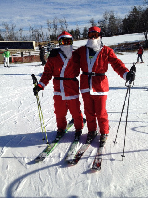 Skiing Santas at Wachussett Mountain!