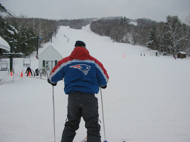 A skier goes down the mountain at Ragged Mountain, New Hampshire
