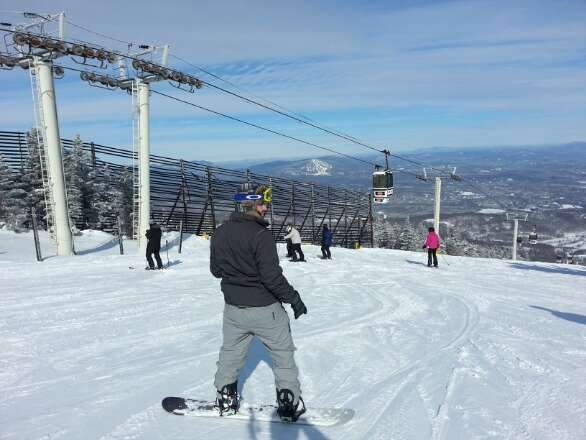awesome day today. blue bird skies enough powder to go around. trees were good. one of my better days in the northeast.