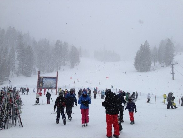 Dumping but very windy!