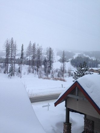 Still snowing.... Great here, can't get to Revelstoke.... Too much snow... Bummer!!
