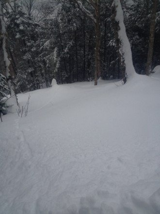 18-22 inches as of 6:15 sweet day waist deep powder