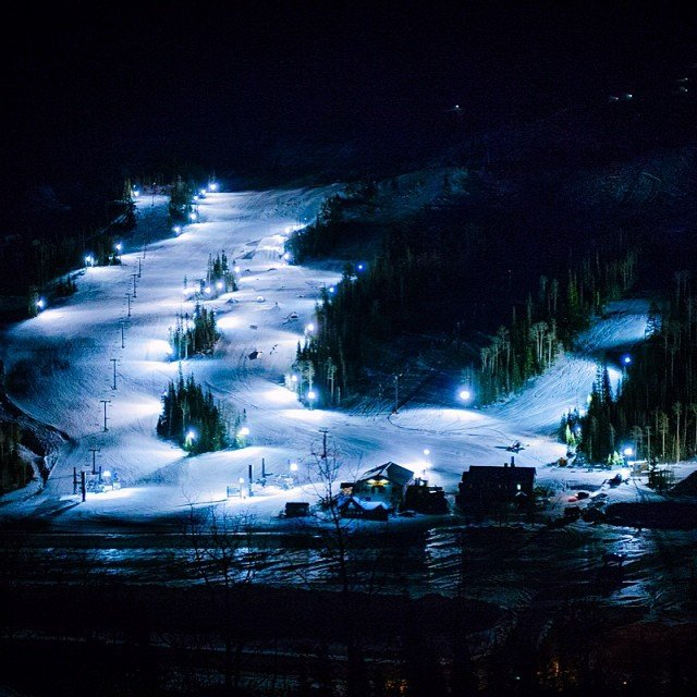 Light up the dark with night skiing at Brian Head Resort. - ©Photographer: Mike Saemisch. Courtesy of Brian Head Resort