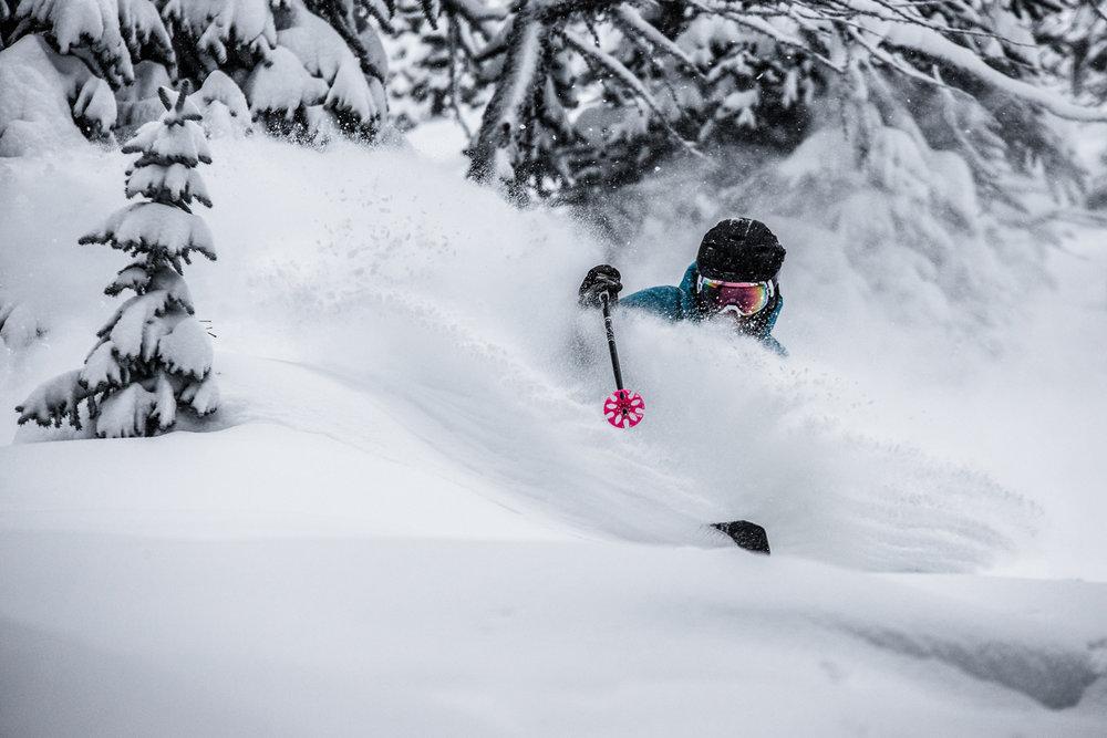 Skier, Keegan Capel in deep again at Sunshine Village. - ©Liam Doran