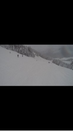 Great day, foggy towards the end, few moguls, hella powder, short lift lines, and snowing all day, today was a good day