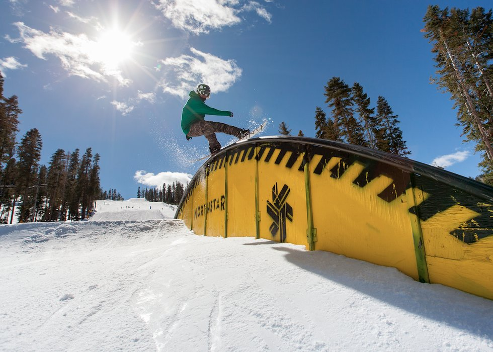 Northstar team rider, Danny Toumarkine, showing some style on top of the tear drop rail. - ©Northstar California / Chris Bartkowski