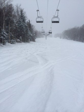 pow for days. great day, no lines whatsoever, empty hill. get out here while it lasts. unbelievable conditions