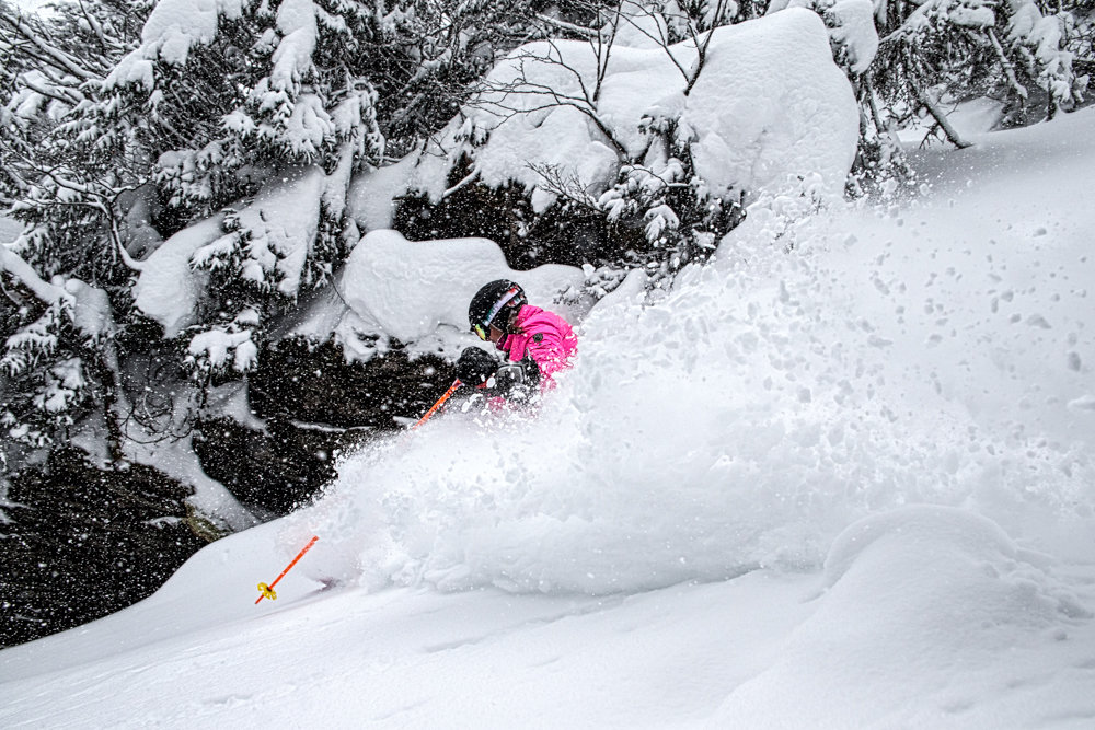 Kristi Brown Lovell loving the fresh snow at Stowe! - ©Liam Doran