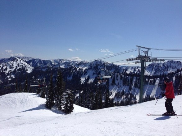 Beautiful spring ski day. Sunny and warm.